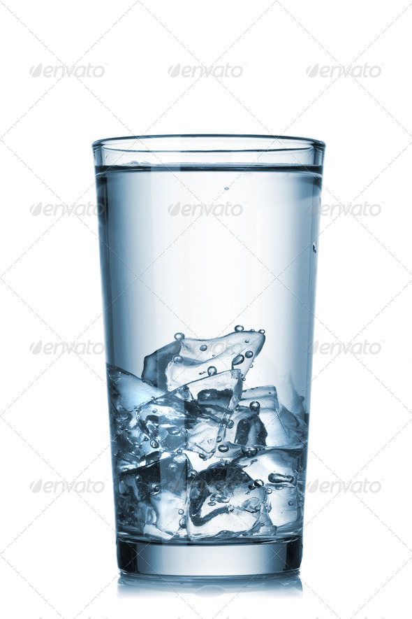 water with ice in glass isolated on white - Stock Photo - Images