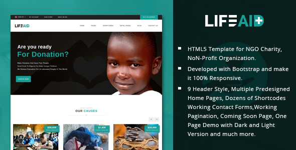 LifeAid – Minimal Charity, NGO, Non-Profit, Fund Raising HTML Template
