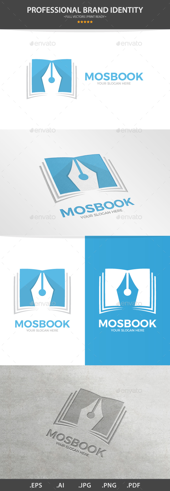 Vector Logo Combination Of a Book And Pen - Logo Templates