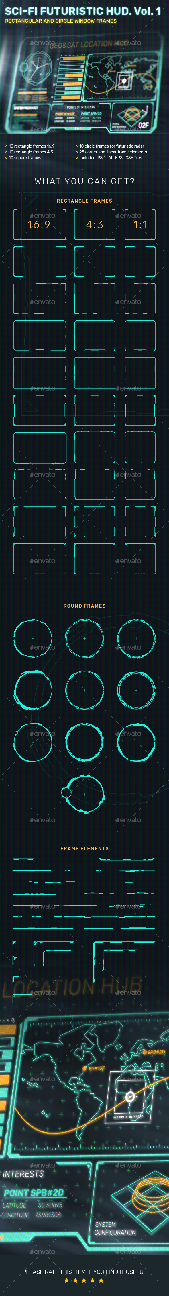 Sci-Fi Futuristic HUD. Vol. 1: Rectangular And Circle Window Frames - Technology Conceptual