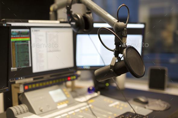 Microphone modern radio station broadcasting studio - Stock Photo - Images