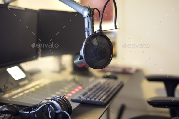Microphone in radio station broadcasting studio in the morning - Stock Photo - Images