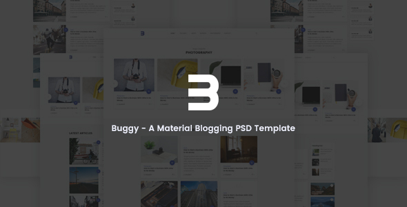 Buggy - Material Blog, Magazine PSD Template - PSD Templates