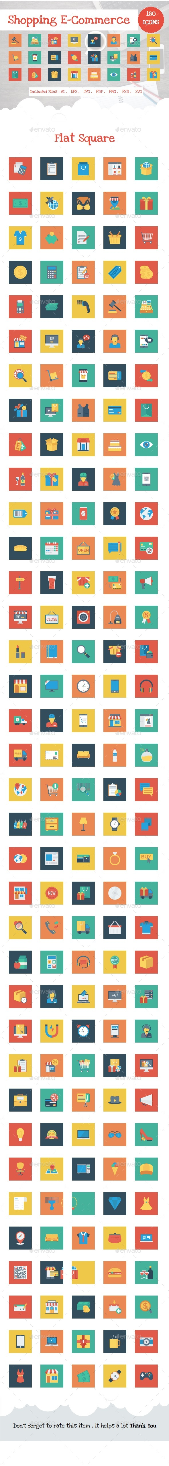 Shopping and E-Commerce Flat Square - Web Icons