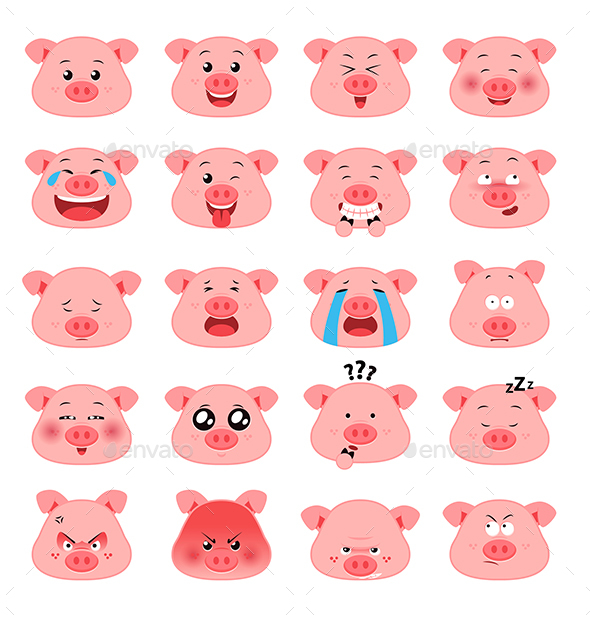 Pig Emoticon Vector Pack - Animals Characters