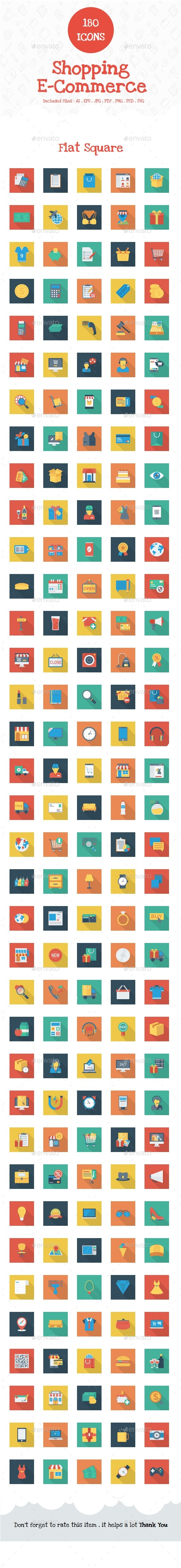 Shopping and E-Commerce Flat Square Shadow - Web Icons