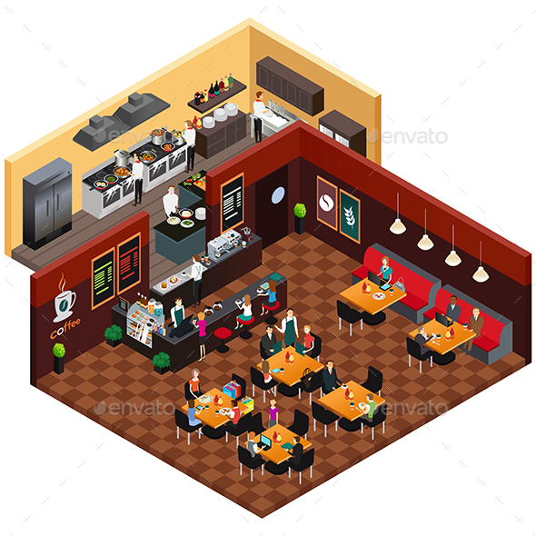 Isometric Design of a Restaurant - Buildings Objects