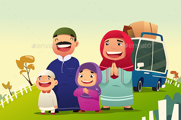 Muslim Family Going Home to Celebrate Eid Al Fitri - People Characters