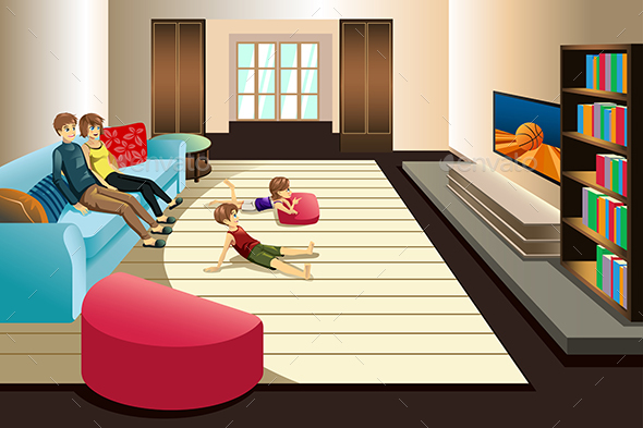 Family Watching Television at Home - People Characters