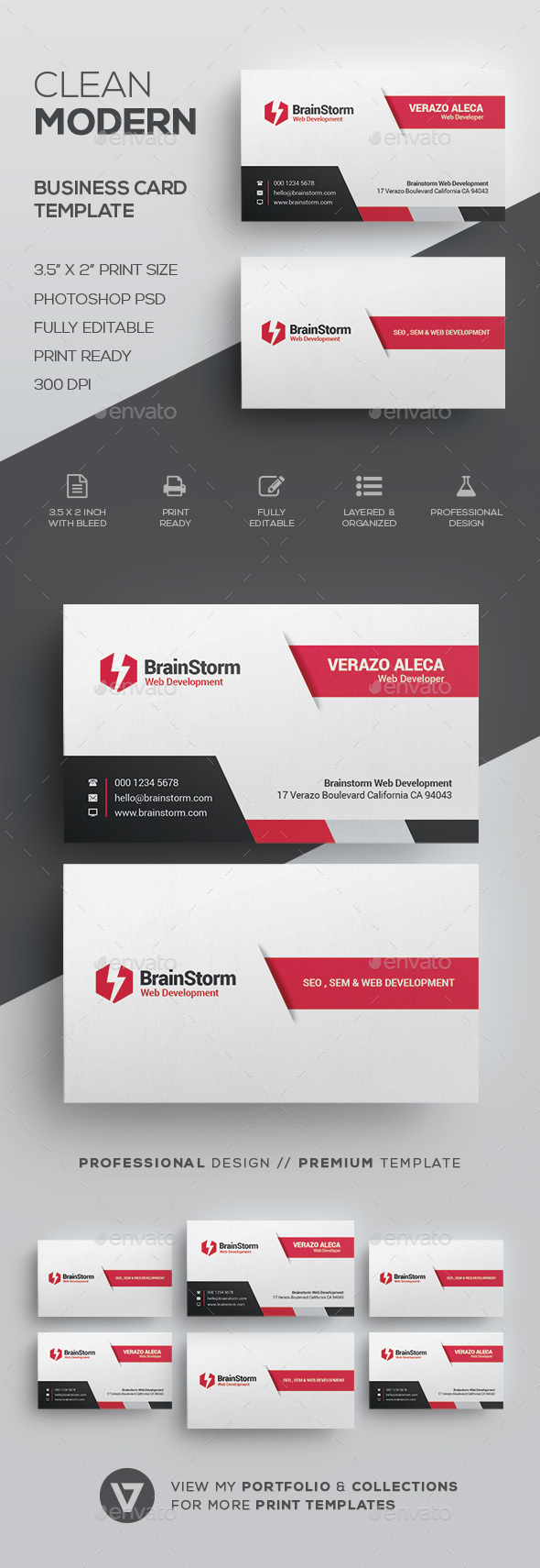 Clean Business Card Template by verazo | GraphicRiver