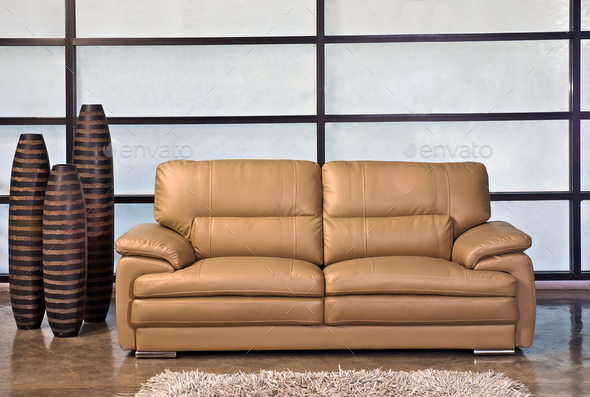 Leather Sofa Light Brown In The Office