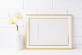 Gold decorated landscape frame mockup with soft yellow orchid in - PhotoDune Item for Sale