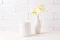 White coffee mug mockup with soft yellow orchid in vase - PhotoDune Item for Sale