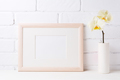Wooden landscape frame mockup with soft yellow orchid in vase - PhotoDune Item for Sale