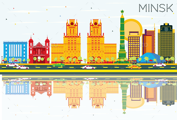 Minsk Skyline with Color Buildings, Blue Sky and Reflections - Buildings Objects