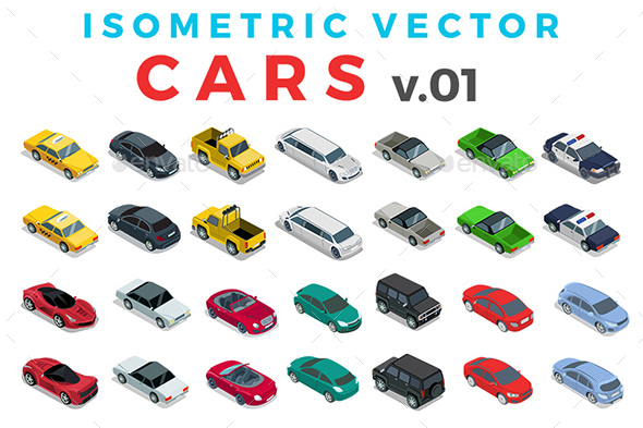 Vector Cars Set Isometric Flat Style v.1 - Vectors