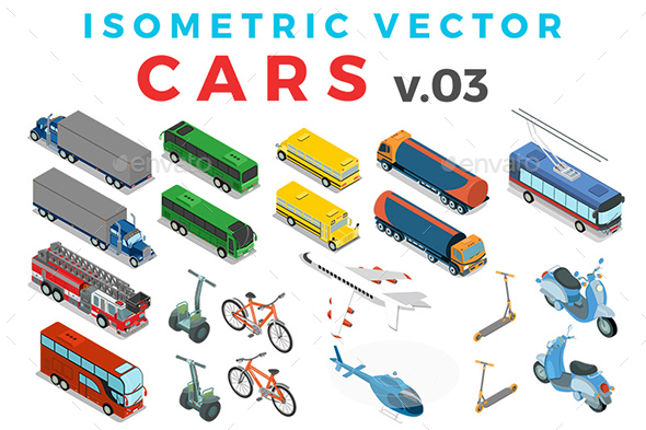 Vector Cars Set Isometric Flat Style v.3 - Vectors