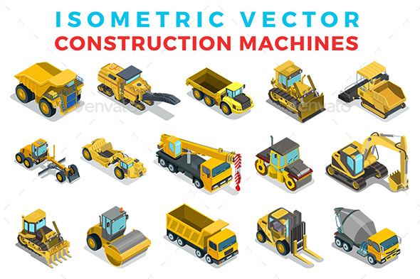 Vector Construction Machines set Isometric Flat style - Vectors