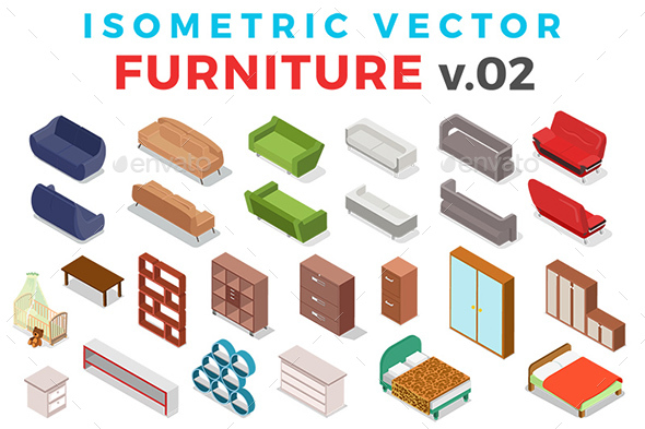 Vector Furniture Set Isometric Flat Style v.02 - Objects Vectors