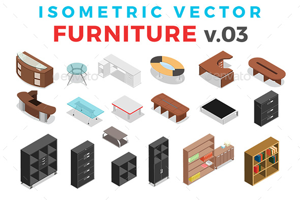 Vector Furniture Set Isometric Flat Style v.03 - Objects Vectors