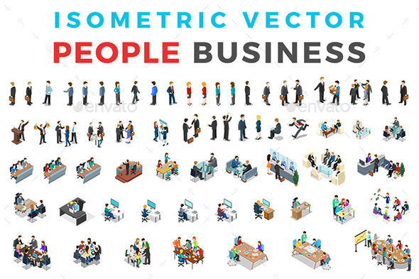 Vector Business People Set Isometric Flat Style - People Characters