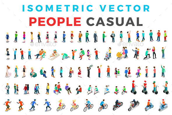 Vector Casual People Set Isometric Flat Style - People Characters