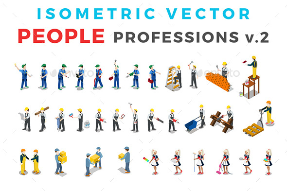 Vector Professions People Set Isometric Flat Style v.2 - People Characters