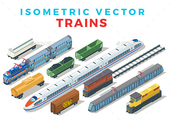 Vector Trains Set Isometric Flat Style - Vectors