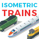 Vector Trains Set Isometric Flat Style - GraphicRiver Item for Sale