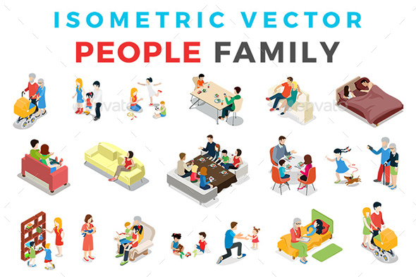 Vector Family People Set Isometric Flat Style - People Characters