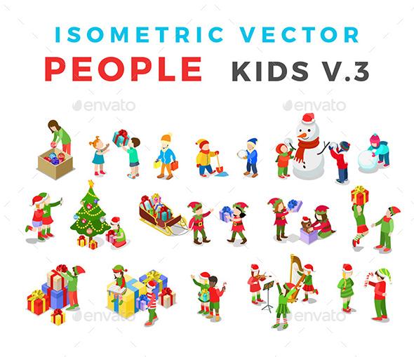 Christmas Isometric Flat Vector People Kids - People Characters