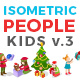 Christmas Isometric Flat Vector People Kids - GraphicRiver Item for Sale