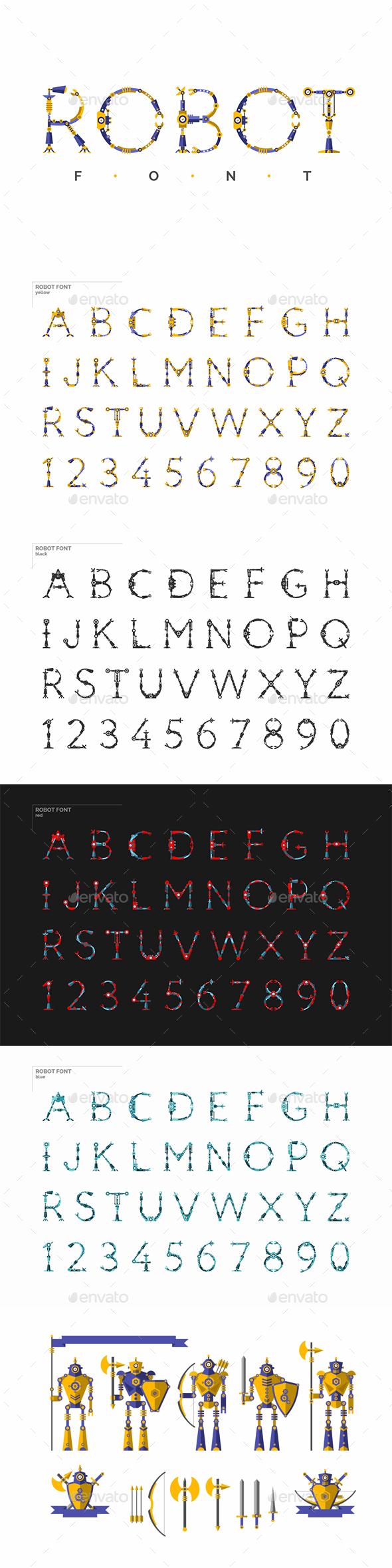 Robot Font and Robots Knights - Miscellaneous Vectors