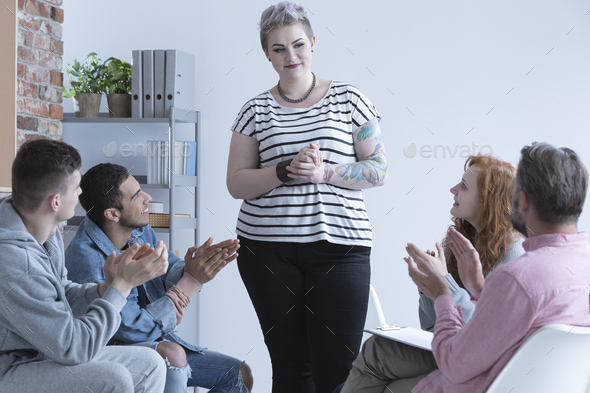 Girl and support group - Stock Photo - Images