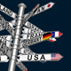 Signpost With Arrows Pointing Countries - VideoHive Item for Sale