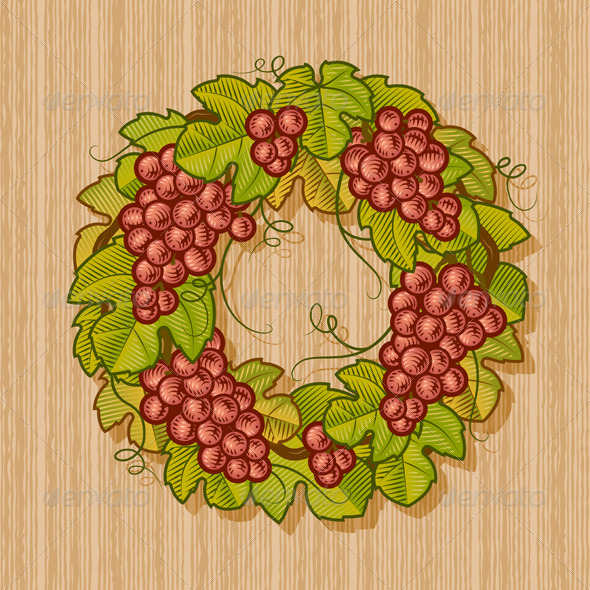 Retro Grapes Wreath - Food Objects