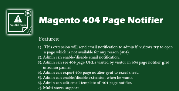 Magento1x 404 Page Notifier - CodeCanyon Item for Sale