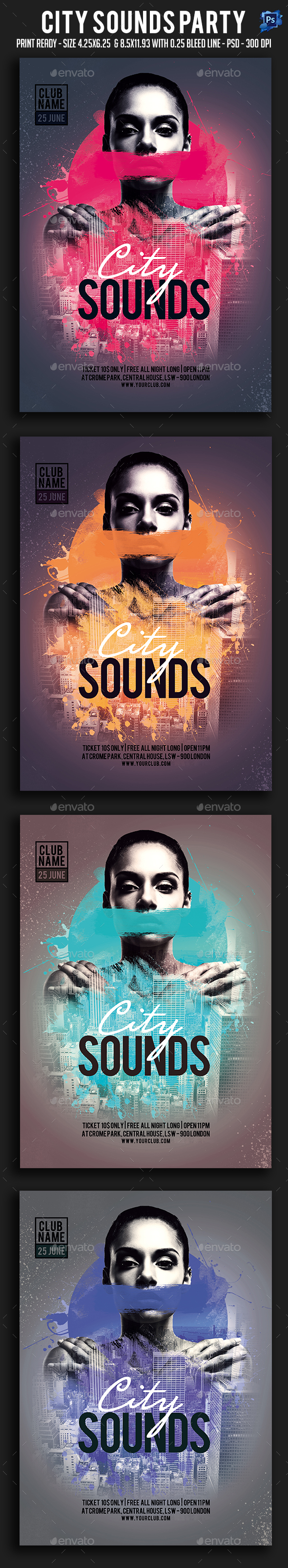 City Sounds Party Flyer - Clubs & Parties Events
