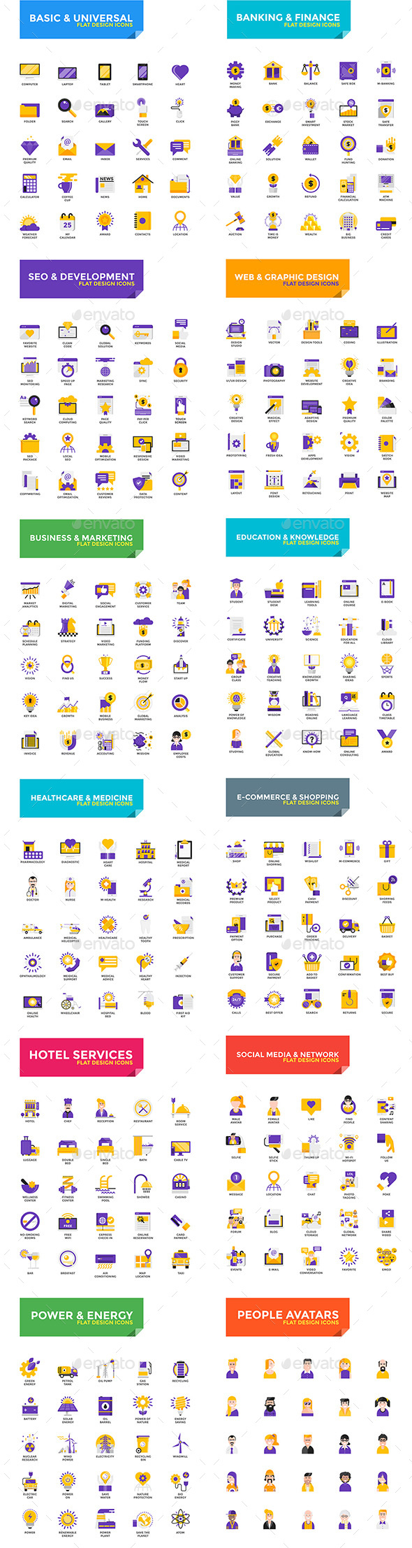 Big Collection of Flat Modern Color Design Icons - Icons