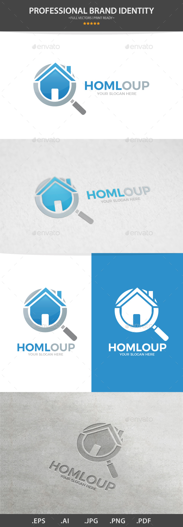 Vector Logo Combination Of a Loupe And House - Buildings Logo Templates
