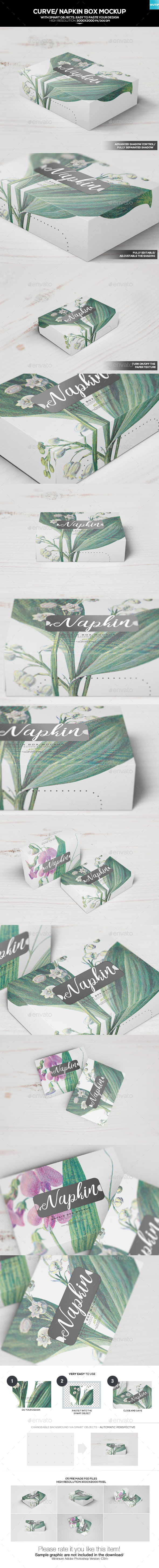 Curve/ Napkin Box Mockup - Miscellaneous Packaging