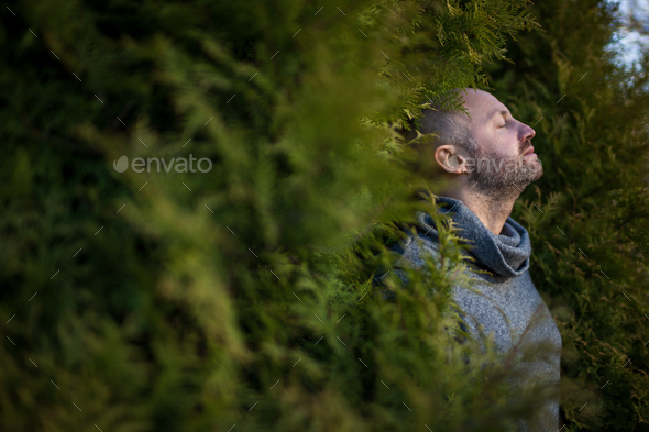 Breathe fresh air in nature. - Stock Photo - Images
