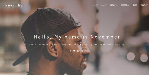 November Creative Personal Portfolio