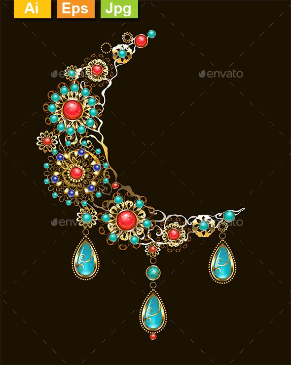 Crescent of Ethnic Ornaments - Decorative Symbols Decorative