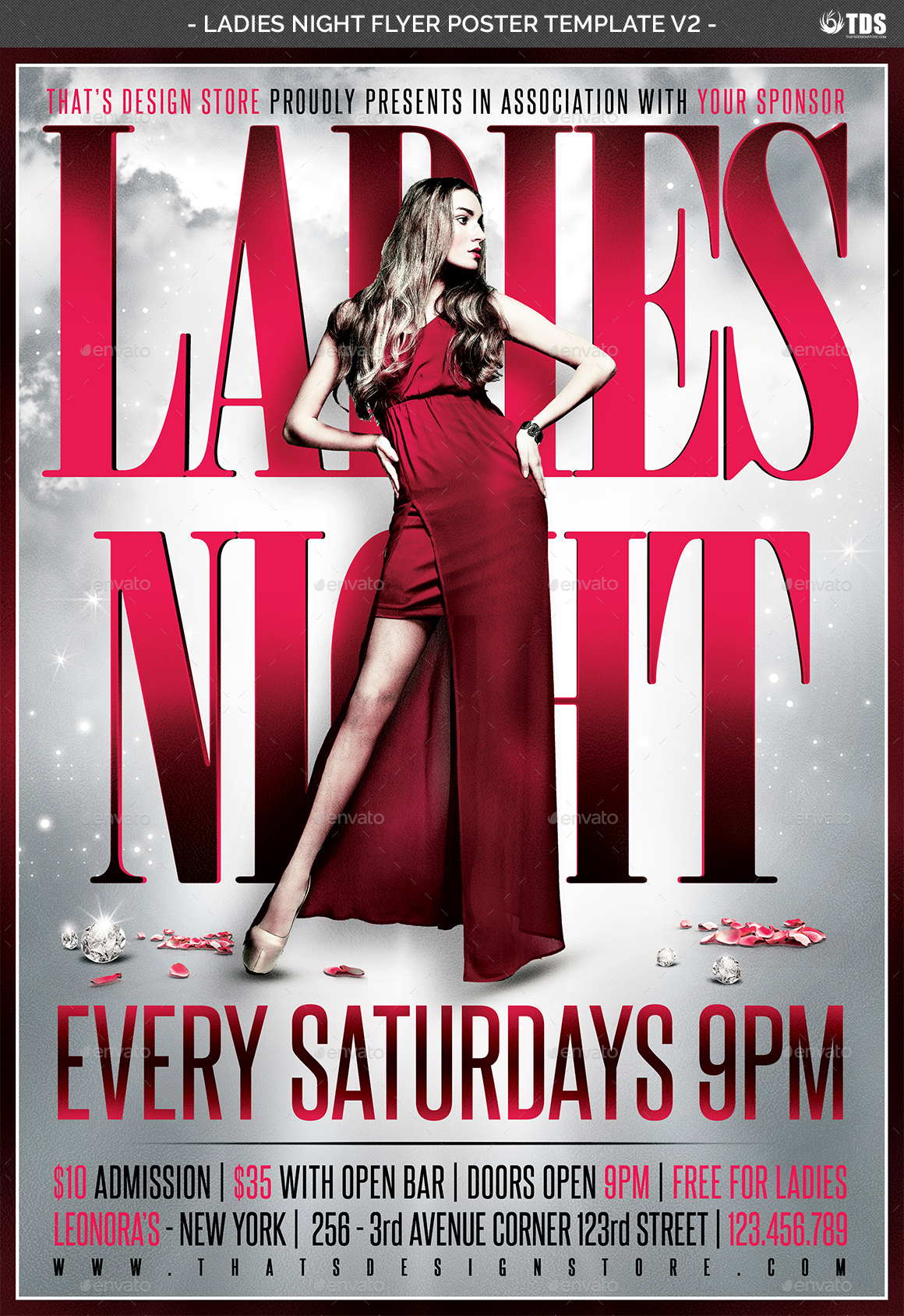 ladies night flyer poster template v2 by lou606