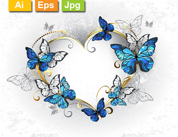 Jewelry Heart with Butterflies Morpho - Valentines Seasons/Holidays