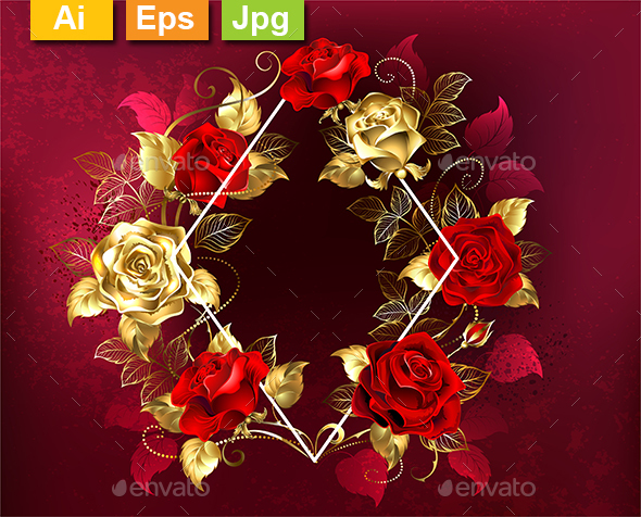 Rhombus with Roses - Borders Decorative