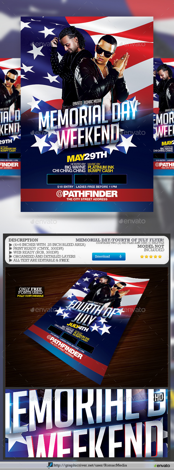 Memorial Day Flyer - Clubs & Parties Events