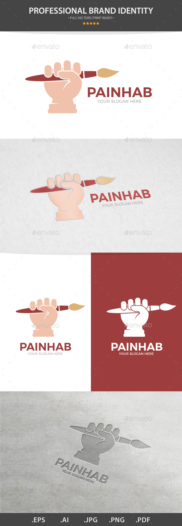 Vector Logo Combination Of a Hand With Brush - Logo Templates