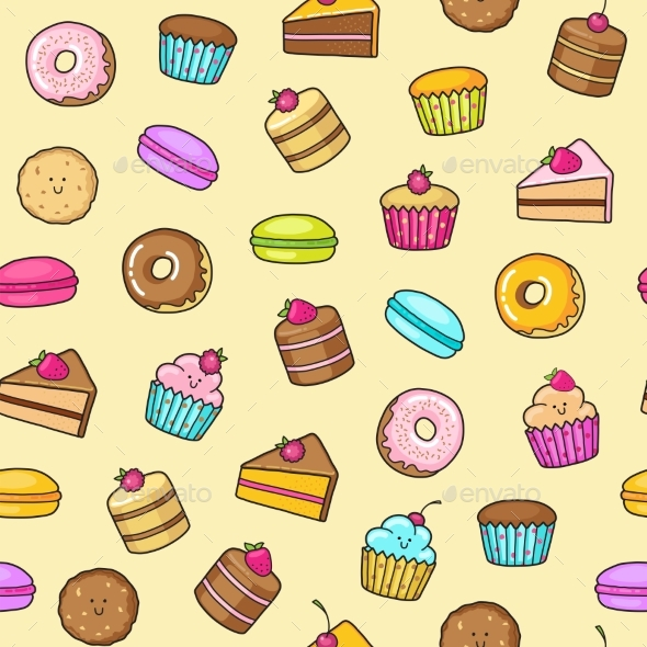 Kawaii Seamless Background of Sweet and Dessert - Food Objects